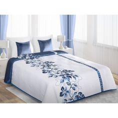 Biele obojstranné prikrývky s modrým vzorom kvetov