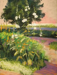 """(With thanks to The Pastel Journal where this was originally published.) Summer Hollyhocks, 24"""" x 18"""" The lively textures and pa..."""