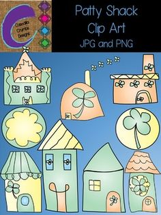 Patty Shack St. Patricks Day Clip Art Set Color Images   This is a fun whimsical set of 9 color images in PNG and JPG to use in your classroom and teacher resource files that you sell and distribute.    For personal and commercial use.   They CANNOT be shared or distributed as image/clipart files for any reason.