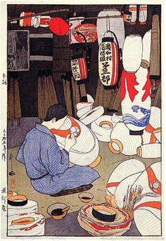 """illustration japonaise : Hiroshi Yoshida, 1926, """"le fabricant de lampions en papier"""", 1920s"""