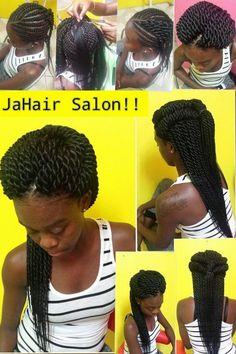 American and African Hair Braiding : Crotchet twists by jahair salon African Braids Hairstyles, Weave Hairstyles, Hairstyles 2018, Black Hairstyles, Trendy Hairstyles, Crotchet Twists, Crochet Braids, Indian Human Hair, Hair Affair
