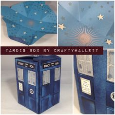 Gift Box Punch Board - Tardis!!   Star mask from Stampin' Up used on the inside.