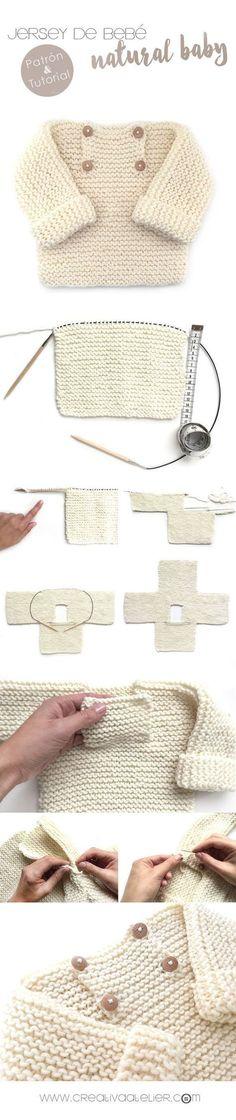 Child Knitting Patterns Step-by-step tutorial to knit a lovely child knit sweater. Baby Knitting Patterns Supply : Tutorial paso a paso para tejer un adorable jersey de bebé de punto bobo. Baby Knitting Patterns, Knitting For Kids, Baby Patterns, Free Knitting, Knitting Projects, Crochet Projects, Crochet Patterns, Sweater Patterns, Knitting Tutorials