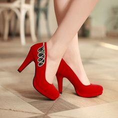 Heels: approx 10 cm Platform: approx 1.5 cm Color: Black, Red Size: US 3, 4, 5, 6, 7, 8 (All Measurement In Cm And Please Note 1cm=0.39inch) Note:Use Size Us 5 As Measurement Standard, Error:0.5cm.(Wh
