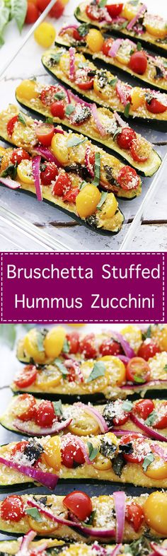 Bruschetta Stuffed Hummus Zucchini is an amazing gourd, layered with a zesty hummus and fresh vegetables,