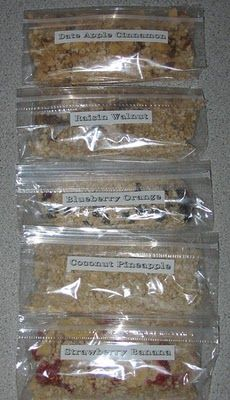 Homemade instant oatmeal packets with flavoring -- cheaper than the single-serving packages. Camping Snacks To Make Ahead Breakfast Time, Breakfast Recipes, Snack Recipes, Breakfast Ideas, Oatmeal Recipes, Oatmeal Flavors, Cooking Oatmeal, Paleo Recipes, Sweet Recipes