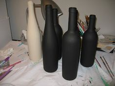 How to paint wine bottles?  What do you use for a basecoat?  What design should you use?