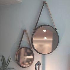 Marston Round Mirror with Leather Strap