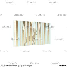 Stag In Birch Trees Gallery Wrapped Canvas
