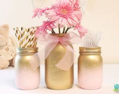 62 Ideas Baby Diy Painting Mason Jars For 2019 Deco Baby Shower, Gold Baby Showers, Girl Shower, Bridal Showers, Boy Baptism Centerpieces, Baby Shower Table Decorations, Wedding Decorations, Diy Centerpieces, Birthday Decorations
