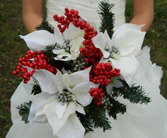 red bridal bouquets for weddings   SALE Brides Bouquet, red, green, silver, white, winter, Christmas ...