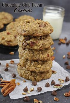 Gluten Free, Chocolate Chip Pecan Cookies - These here are proof that cookies can be tasty and good fo ya! Packed with flax meal and oats, these Chocolate Chip Pecan Cookies also happen to be gluten-free and butter-free!