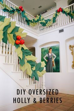 Oversized Holly and Berry Garland. Learn to make this oversized holly and berry garland. But there's one simple trick to make it work. Christmas Past, Modern Christmas, All Things Christmas, Winter Christmas, Xmas, Christmas Projects, Christmas Ideas, Christmas Centerpieces, Christmas Decorations To Make