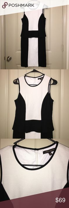 CYNTHIA STEFFE Back Zip Peplum Career Dress Sz 6 This is a CYNTHIA STEFFE Black and White Back Zip Peplum Career Dress in a Sz 6, dress is fully lined and perfect for office wear! Gently used condition! I ship fast! Happy poshing friends! Cynthia Steffe Dresses Midi