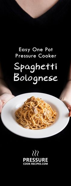 Instant Pot Spaghetti Bolognese Recipe (Pressure Cooker Spaghetti): Flavorful Instant Pot One Pot Meal. Quick easy dinner idea for busy weeknights. Pressure Cooker Spaghetti, Power Pressure Cooker, Instant Pot Pressure Cooker, Pressure Cooker Recipes, Pressure Cooking, Crockpot Recipes, Cooking Recipes, Spaghetti Bolognese, Spaghetti Noodles