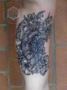 black work line whip shaded anatomical heart and flower tattoo by Logan Bramlett Follow me on IG to see more work @LoganBram Anatomical Heart, Black Work, Flower Tattoos, Logan, Body Art, Piercings, Shades, Flowers, Ideas