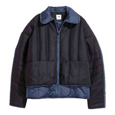 H&M Quilted Wool-blend Jacket - Blue Nylons, Outerwear Women, Outerwear Jackets, Padded Jacket, Down Coat, Quilted Jacket, Wool Blend, Work Wear, Fashion Online