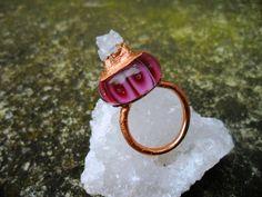 Prstynek-le+petit+roi-vinutka-Měd-Electroforming+Vnitrni+prumer:18,1mm+Velikost+prstenu:57-57,5+Vyska+perle+s+druzou:2cm+Vyska+Perle+bez+…
