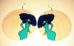 """Afrocentric """"Baby Got Back"""" Hand painted Natural Hair Afro Earrings by Astella19, $25.00"""
