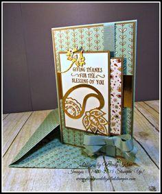 "Stampin' Up!  MOJO463, Basket of Wishes, Petals & Paisleys SDSP, Copper Foil, Paisley Framelits, 3/8"" Mint Macaron Grosgrain, Copper ep, Pearls, --  designed by Wendy Klein for Doggone Delightful Stampin'"