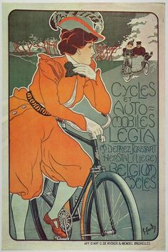 Vintage French Art Nouveau Bicycle And Car Advertisement. French Art Nouveau style advertisement for bicycles and cars in France. Antique ad from Bike Poster, Poster Art, Kunst Poster, Design Poster, Poster Prints, Motorcycle Posters, Graphic Design, Vintage French Posters, Poster Vintage