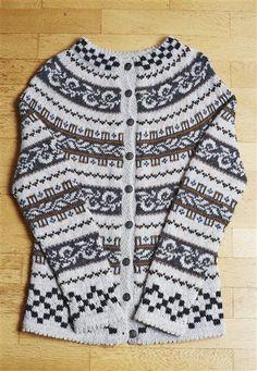 "Nr 11 ""Haukeli"" kofte pattern by Sandnes Design Knitting Patterns, Crochet Patterns, Fair Isle Pattern, Fair Isle Knitting, Knit Picks, Warm Sweaters, Vintage Knitting, Knit Cardigan, Bunt"