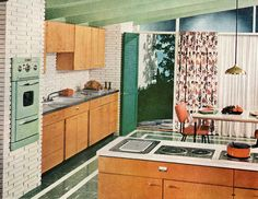 Love the mint green oven! #vintage #1950s #kitchen