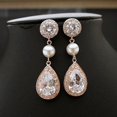 ROSE GOLD Round Post Bridal Earrings Clear Cubic Zirconia Teardrop with White OR Cream Pearl Earrings Wedding Jewelry Bridal Jewelry