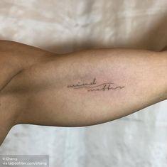 mind over matter Word Tattoos On Arm, Flower Leg Tattoos, Small Words Tattoo, Inner Arm Tattoos, Arm Tattoos For Women, Body Tattoos, Small Tattoos, Mini Tattoos, Side Foot Tattoos