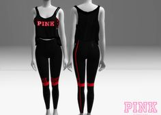 PINK APPAREL Tank Top & Leggings by 808Pixels Skirt Tumblr, Sims 4 Studio, Sims 4 Clothing, Woman Clothing, Sims Hair, Sims 4 Cc Finds, Pants For Women, Clothes For Women, Sims Mods