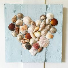 """CORNISH Sea Shell 12"""" Heart on a Duckegg Blue Pallet Frame Shells From Cornwall Hanging Shell Heart NauticalTheme Rustic Decor Beach Life"""