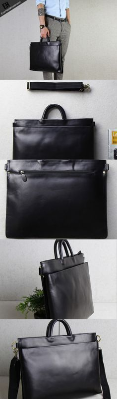 Handmade leather men Briefcase messenger black shoulder laptop bag vintage bag