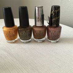 OPI Nail Polish - 4 Colors: 18K Ginza Gold (lightly used), All Sparkly and Gold (never used), DS Classis (used once) and Make Him Mine (never used). OPI Makeup