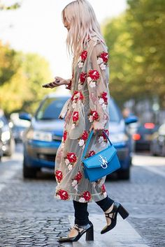 I love the way this is styled with the leggings and the stacked heel.   ~~ Floral frock
