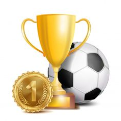Football Award Vector Sport Banner Background Ball Gold Winner Trophy Cup Golden Place Medal Soccer Ball Realistic Isolated Illustration Vector and PNG Copa Football, Football 2018, Football Banner, Soccer Tournament, Soccer Players, Soccer Ball, Basketball Awards, Football Awards, Football Background