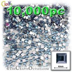 10000-pc Acrylic Flatback Square Rhinestones 4mm Light Baby Blue