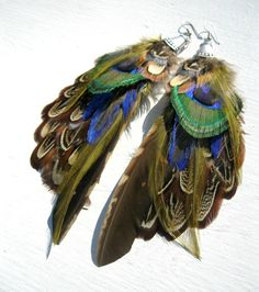 Feather Earrings Peacock & Pheasant Feathers by LarkinAndLarkin, $40.00