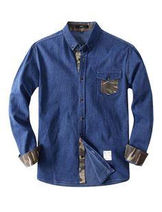 Mens Denim Shirt with Camouflage Placket (KMJT02)