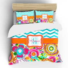 Custom Personalized Wildflowers and Chevron Bedding by redbeauty