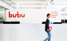 Logo and signage for Swiss binding specialists Bubu by graphic design studio Bob Design
