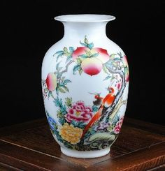 CHINESE FAMILLE PORCELAIN HAND PAINTED FLOWERS & BIRD & PEACH VASE TQ10355 in Collectibles,Decorative Collectibles,Vases | eBay