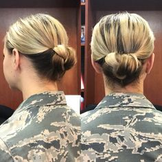 Brought to you from the desk of Lieutenant Rowe, today's military bun is a braided gibson tuck. @army hair has an amazing tutorial for the standard gibson tuck on their YouTube page... however I added a step to make it a braided updo. When the hair is in the topsy tail, make a simple 3-strand braid before you tuck it up. It's so easy, takes me less than 3-minutes to do, and only takes 2 bobby pins--and it makes for a chic, sleek military or professional bun for anyone!!
