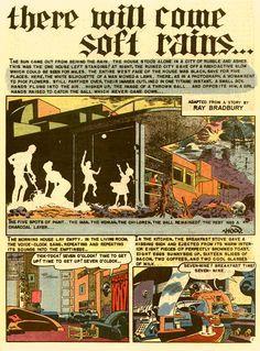 """there will come soft rains."" - Ray Bradbury: comics' My favorite short story/poem Ec Comics, All Themes, Weird Science, Fahrenheit 451, Deus Ex Machina, Reading Strategies, Comic Artist, Jack Kirby, Stan Lee"