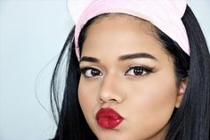 2 Minute Glam: Valentines Day Makeup Look! Day Makeup Looks, Beauty And The Best, Valentines Day Makeup, Red Lips, Beautiful