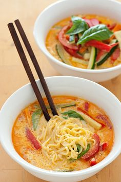 Veggie Laksa  Noodles, curry, coconut cream, vegetables and basil
