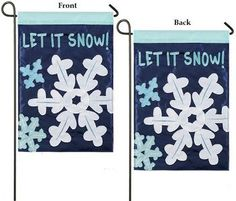 Applique Let It Snow 2 Sided Winter Garden Flag