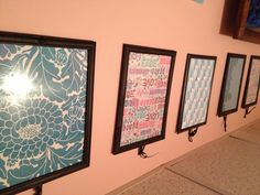 Cheap, easy & makes a big impact when decorating....get pretty scrapbook paper to match the room you're decorating (from Michael's or any craft store), put in a frame from the dollar store (Dollar Tree... $1.00 each!) and hang from a ribbon on the back of the frame! (I use clear pushpins to hang them from). Great for renters who don't want to invest a lot of money in artwork!