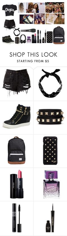 """""""Vidcon Outfit"""" by galaxy-diamond-57 ❤ liked on Polyvore featuring New Look, Valentino, Herschel Supply Co., Diane Von Furstenberg, Shiseido, Lalique, Napoleon Perdis and Beats by Dr. Dre"""
