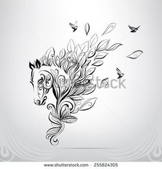 Find Elegant horse done in a minimal style Stock Images in HD and millions of other royalty-free stock photos, illustrations, and vectors in the Shutterstock collection. Tribal Horse Tattoo, Horse Tattoo Design, Celtic Horse Tattoo, Celtic Tattoos, Tattoo Designs, Horse Drawings, Doodle Drawings, Animal Drawings, Unicorn Tattoos