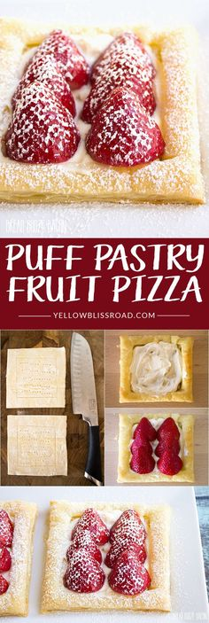 Puff Pastry Fruit Pizza with a creamy no-bake cheesecake filling